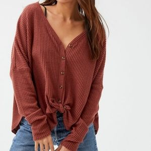 Urban Outfitters - Burnt Orange Thermal Cardigan